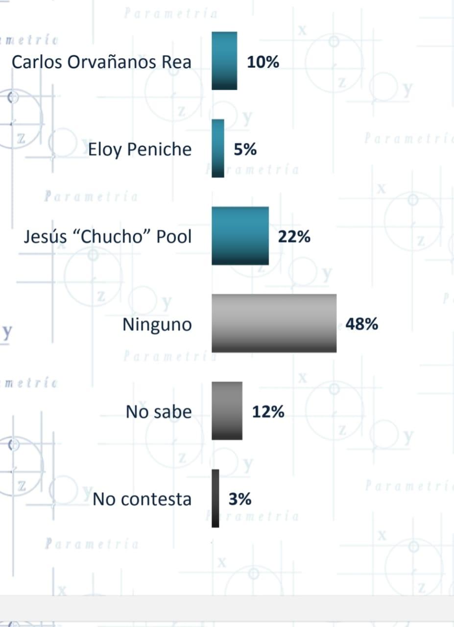 En cuanto a la preferencia general sobre un candidato, Pool triunfó con un 22 %, Orvañanos con un 10% y en tercer lugar Peniche con un 5%.